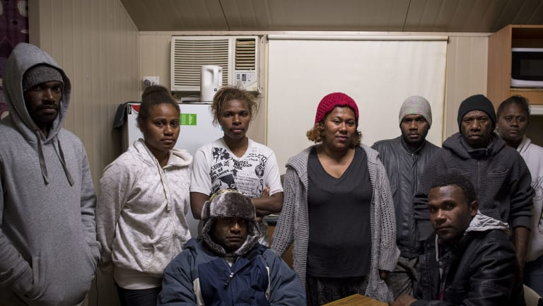 Ms Roqara, centre, at a meeting with other workers from Vanuatu, who have come to Australia under the government-run Seasonal Worker Programme.