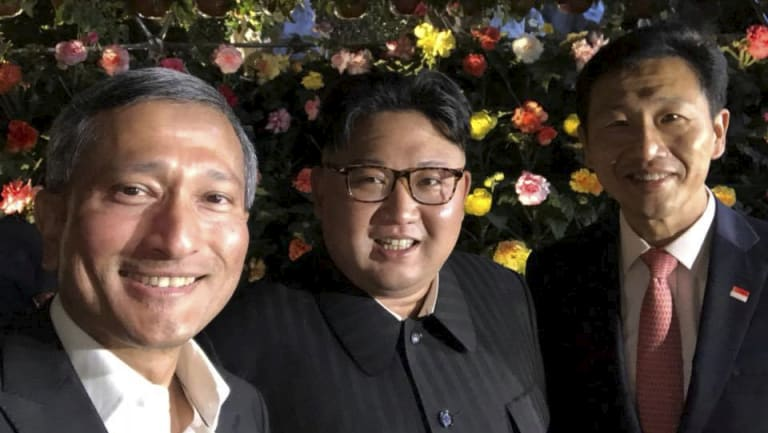 North Korea leader Kim Jong-un with Vivian Balakrishnan, Singaporean Foreign Minister, and Education Minister Ong Ye Kung.