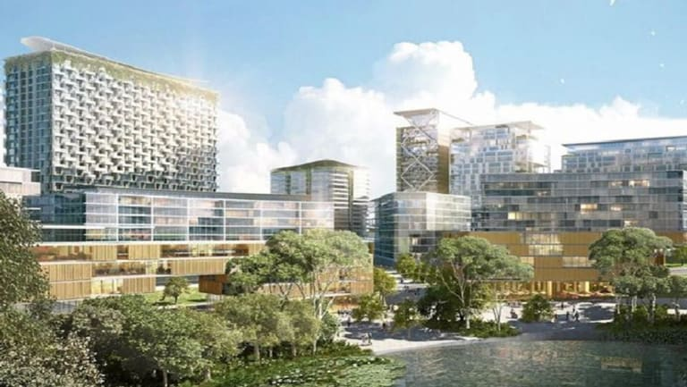 Artist impression of the Liverpool Health and Academic Precinct pitched to the state government by an alliance of local stakeholders.