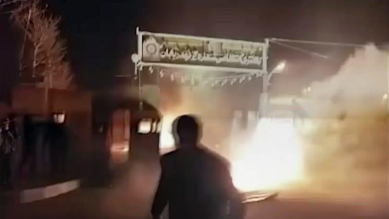 An attack on Iran police station in Qahdarijan, Iran.