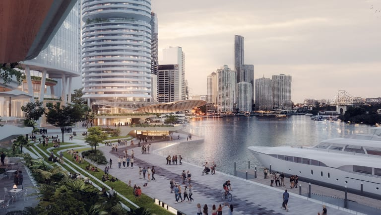 The plan includes a wider Riverwalk and 1.5 hectares of public space along the river.