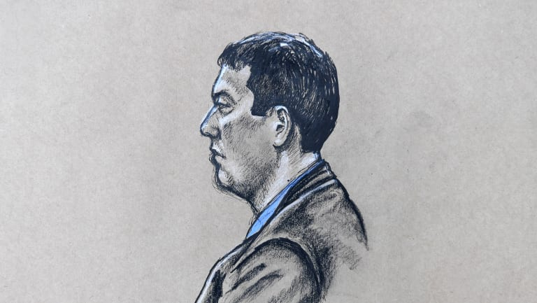 A drawing of Brenden Bennetts, made during his 2017 court appearance.