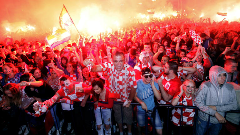 Croatian fans in Zagreb during the World Cup semi-final against England.