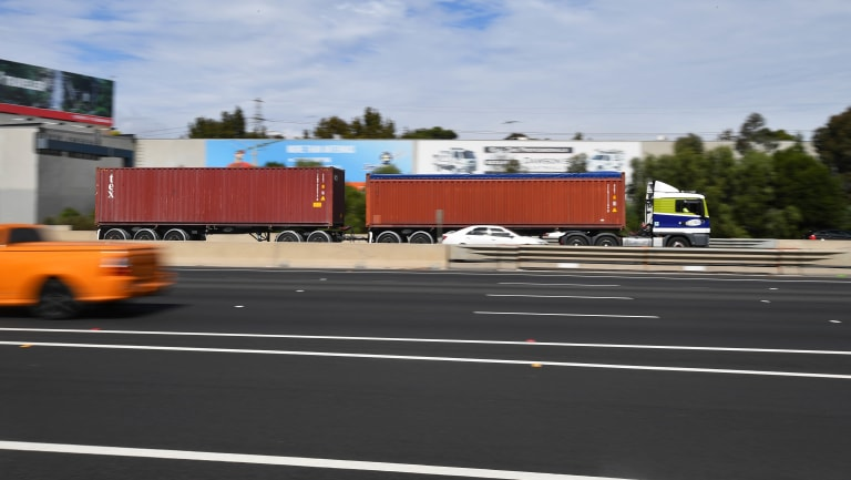 A double truck on the Westgate Freeway.