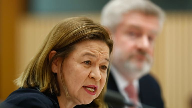 ABC Managing Director Michelle Guthrie and Minister for Communications Mitch Fifield.