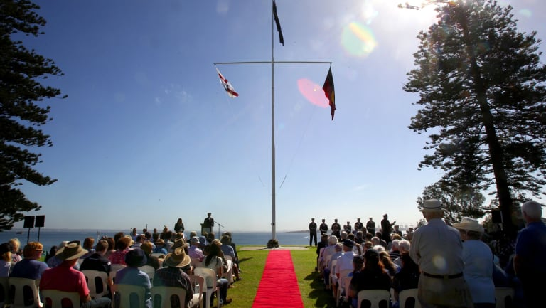 """The """"Meeting of two cultures"""" ceremony at Kurnell, in 2014."""