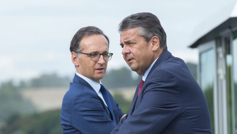 Former German justice minister, Heiko Maas, left, and now former foreign minister Sigmar Gabriel whom he is likely to succeed.