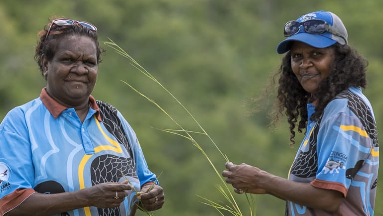 Karen Liddy, left, the chairman of the Lama Lama Land Trust in Queensland.