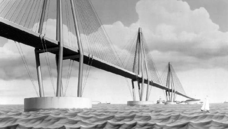 Artist's impression of a proposed bridge across the English Channel, circa 1985