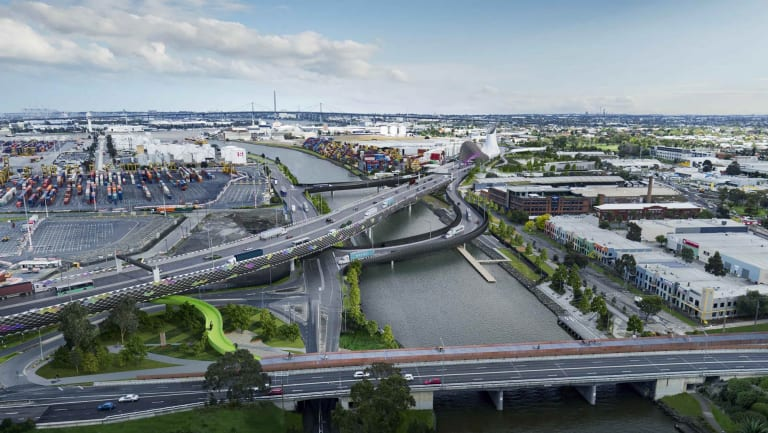 The proposed West Gate Tunnel as it crosses the Maribyrnong River.