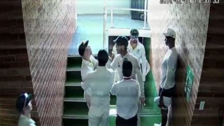 David Warner confronts South Africa's Quinton de Kock in the initial leaked vision.