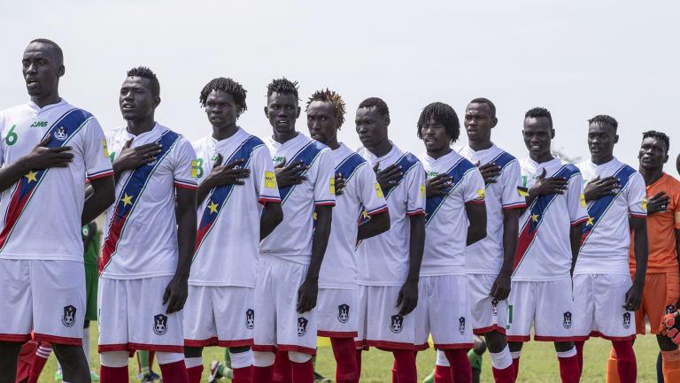 The South Sudan team in their change strip.