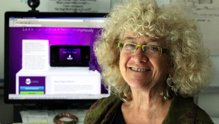 Centre Against Sexual Assault's Carolyn Worth with the 'Sara' website.