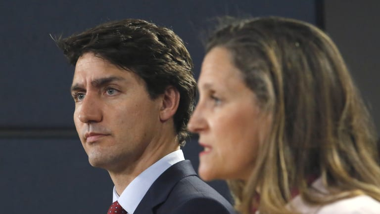"""""""Totally unacceptable"""": Canadian Prime Minister Justin Trudeau, left, and Canadian Foreign Affairs Minister Chrystia Freeland hold a news conference in Ottawa on Thursday."""