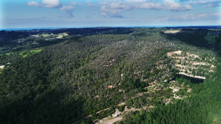 A bird's-eye view of the proposed quarry site in Dromana.