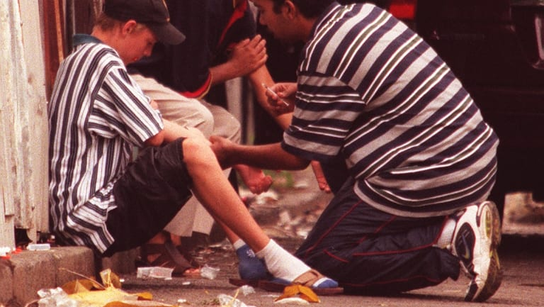 Heroin users on the footpath in Redfern in 1999; a Sun-Herald photo that sparked the drug summit.