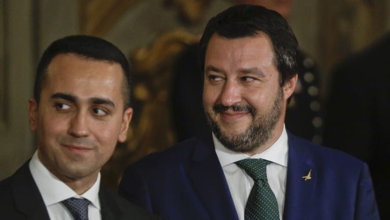Leader of the League party, Matteo Salvini, right, stands by Luigi Di Maio, leader of the Five-Star movement, prior to the swearing-in ceremony for Italy's new government at Rome's Quirinale Presidential Palace on Friday.