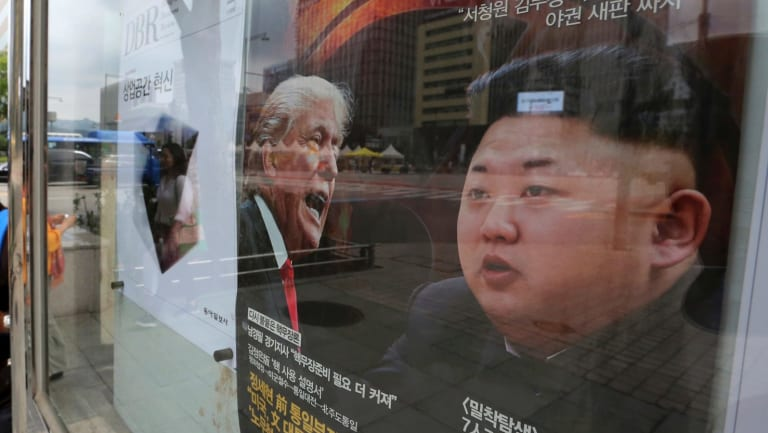 A magazine cover featuring US President Donald Trump and North Korean leader Kim Jong-un is promoted in South Korea.