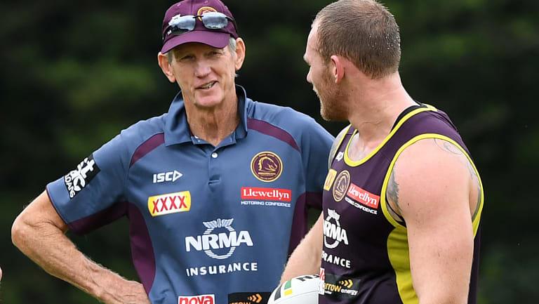 Controversial return: Matt Lodge with coach Wayne Bennett.
