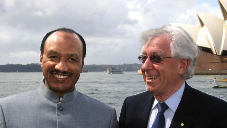 Frank Lowy with then Asian Football Confederation president Mohamed bin Hammam in 2011.