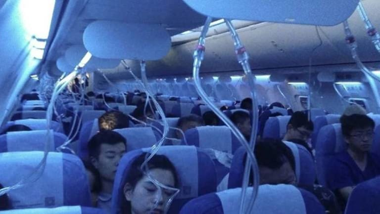 This image of the oxygen masks deployed in the cabin circulated on popular Chinese social media platform Weibo.