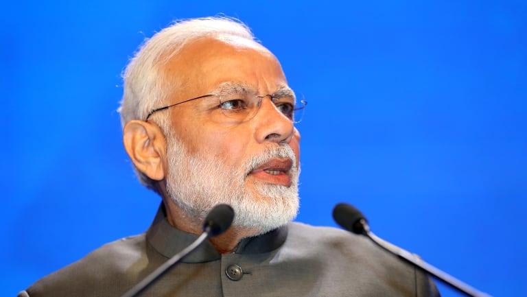 Narendra Modi, India's Prime Minister, delivers the keynote at the Shangri-la dialogue.