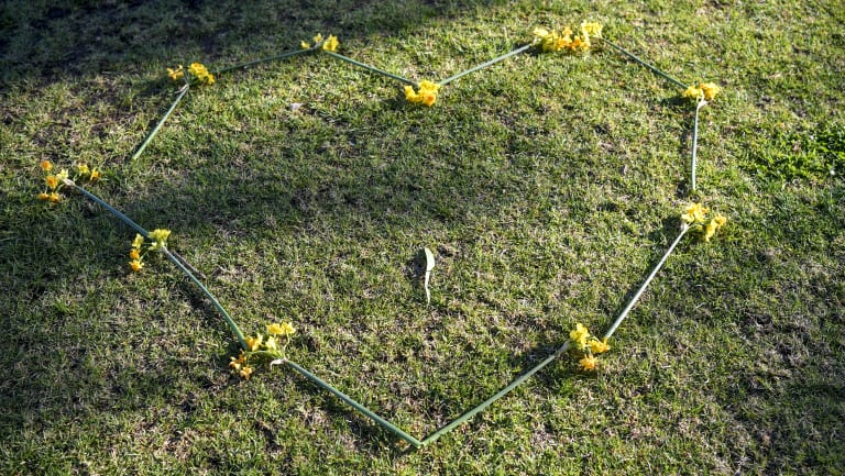 A heart-shaped chain of yellow and orange jonquils at the scene of the woman's death in Princes Park.