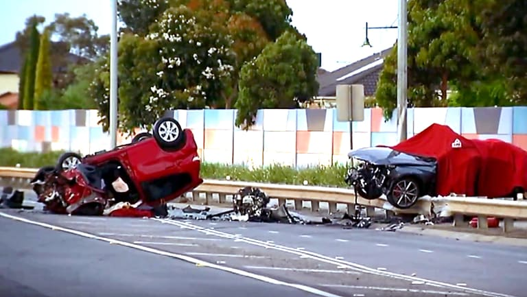 The scene of a triple car fatality in Point Cook