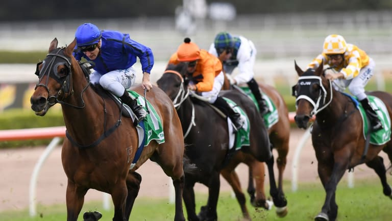 Mile better:  Happy Clapper storms away with the Epsom Handicap last spring.