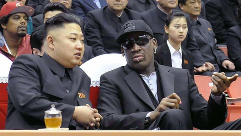 Odd couple ... North Korean leader Kim Jong-un and former NBA star Dennis Rodman.