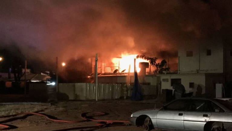 Flames engulfed Queensland pub the Lyceum at Longreach on Thursday evening.