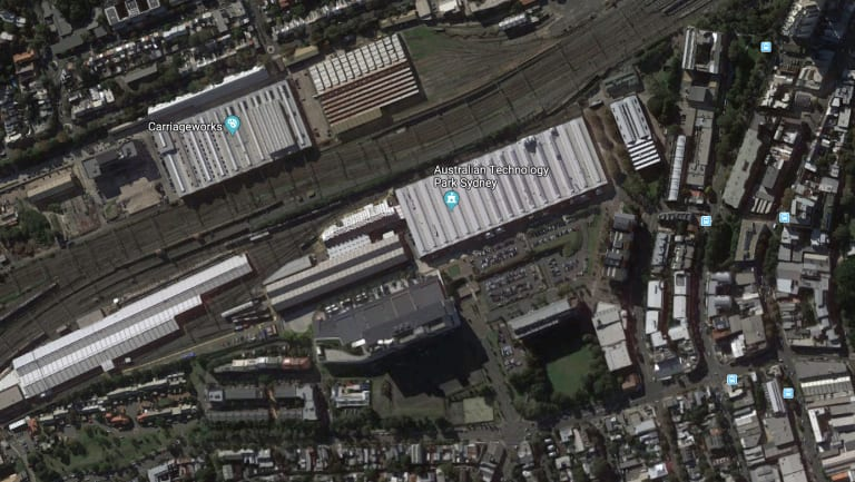 An aerial view of the old rail yard site at Eveleigh.