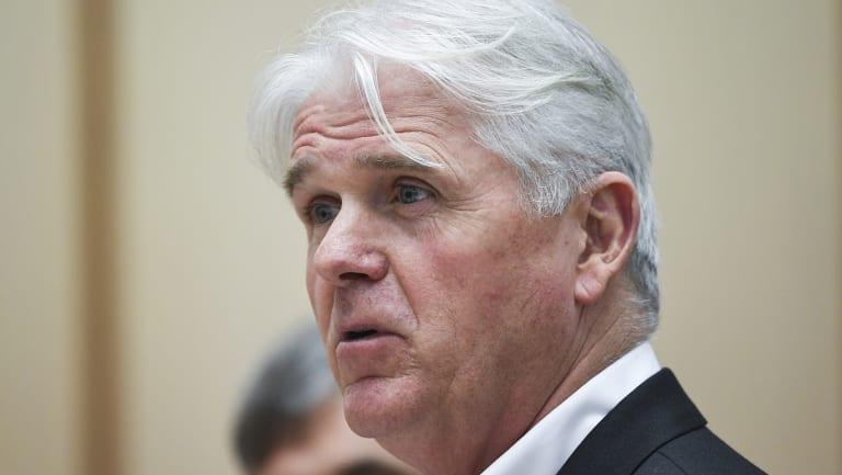 Outgoing NBN CEO Bill Morrow speaks during Senate Estimates