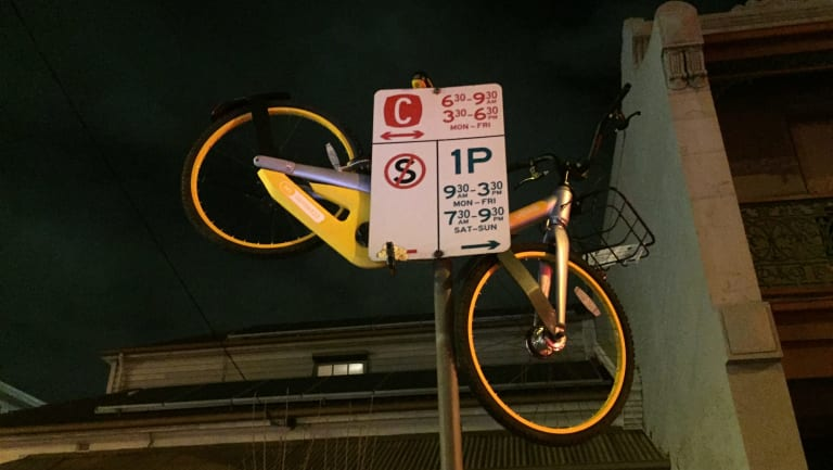 A bad sign for an oBike in Richmond.