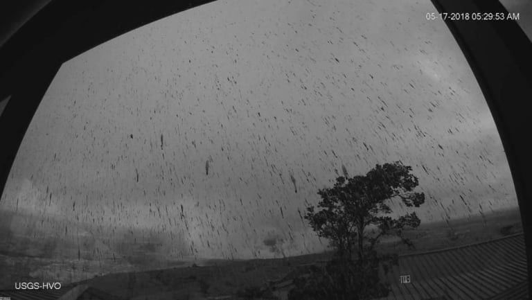 An ash plume resulting from an early morning explosion at Kilauea Volcano on Thursday.