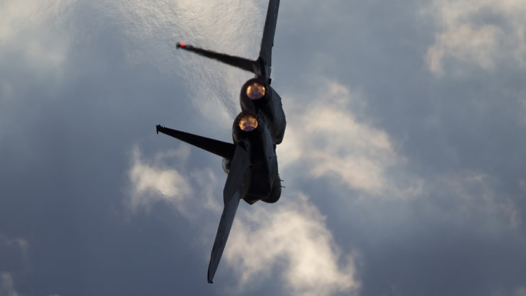 An Israeli Air Force F-15 plane in flight during a graduation ceremony for new pilots in 2016