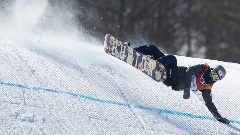 Miyabi Onitsuka of Japan crashes during the women's slopestyle final .