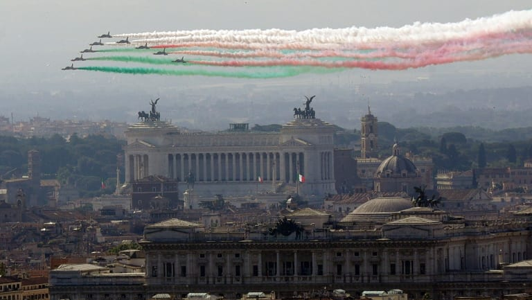 The Frecce Tricolori Italian Air Force acrobatic squad flies over Rome's skyline on the occasion of the 72nd anniversary of founding of the Italian Republic in 1946.