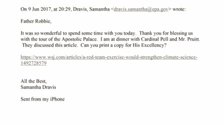 Emails obtained by the New York Times under Freedom of Information detailing a Rome dinner attended by Scott Pruitt and George Pell.