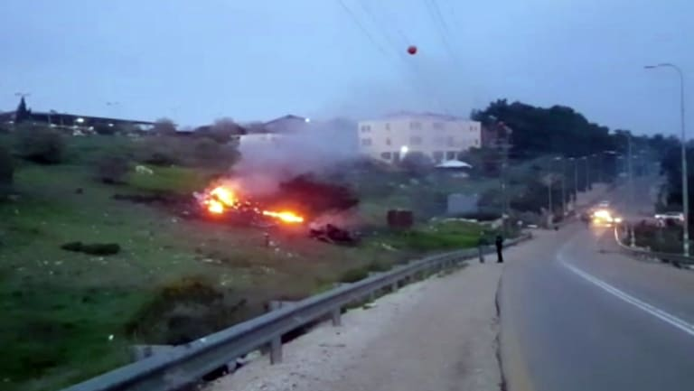 """The Israeli military shot down an Iranian drone that infiltrated the country early Saturday before launching a """"large-scale attack"""" on at least a dozen Iranian and Syrian targets, including an Iranian jet, above."""