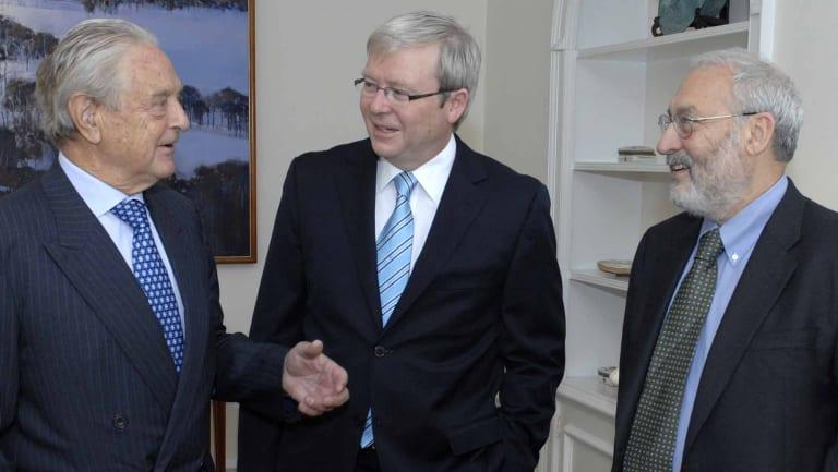 Joseph Stiglitz in New York with former prime minister Kevin Rudd and philanthropist George Soros.