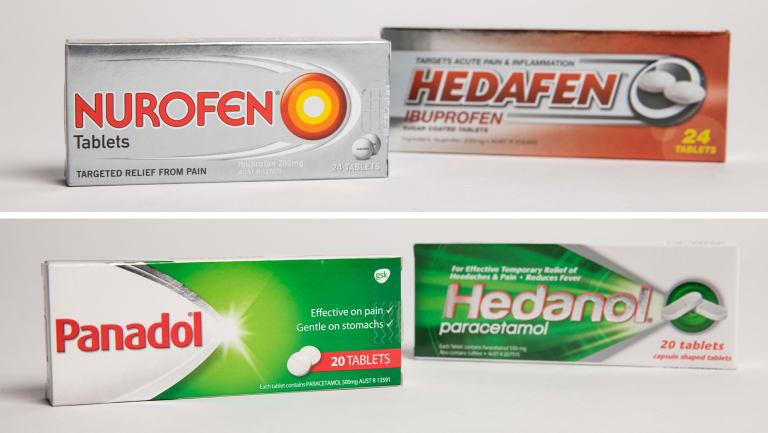 Top: Nurofen and Aldi's Hedafen. Bottom: Panadol and Aldi's Hedanol.