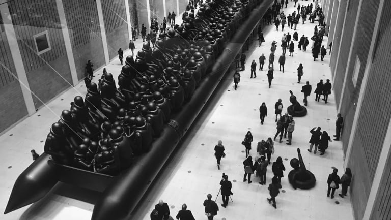 Ai Weiwei's vast installation of a refugee boat and 250 refugees, Law of the Journey, will appear at Kataoka's Biennale.