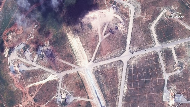 Shayrat air base in Syria, following U.S. Tomahawk Land Attack in April 2017.