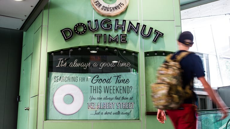 The Doughnut Time store in Brisbane's King George Square busway station is among those closed.