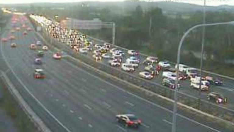 A north-facing traffic camera captured the bumper to bumper conditions on the M1 in Beenleigh about 5.20pm.