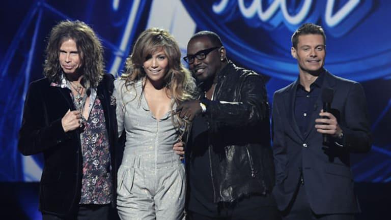 Judges Steven Tyler, Jennifer Lopez ,Randy Jackson and host Ryan Seacrest.