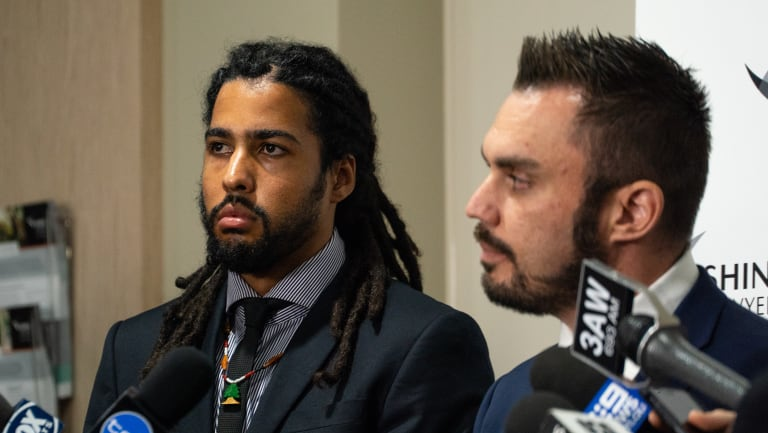Joel Wilkinson (left) during a press conference in Melbourne on Thursday.