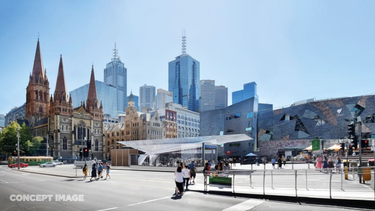 The proposed new design for Town Hall station at Federation Square.