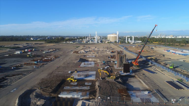 Construction of Tianqi's lithium hydroxide plant is underway in Kwinana, WA.